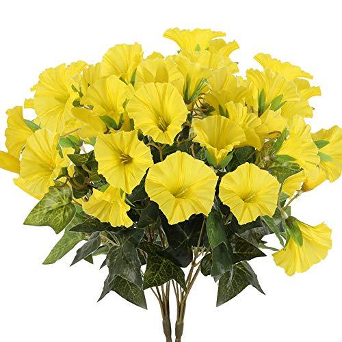 XHXSTORE 3PCS Flores Artificiales Enredadera Falsa Flor Amarilla Flor Artificial para Exteriores e Interiores para Decoración del Hogar, Jardín, Balcón, Bandeja, Florero, Maceta