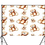 Cute Bear Backdrop Photography Background Cartoon Lovely Teddy Bear Toy Saint Valentine's Day Photo Backdrop for Portrait and Video Shooting Photo Studio Photographer Props 10X10ft