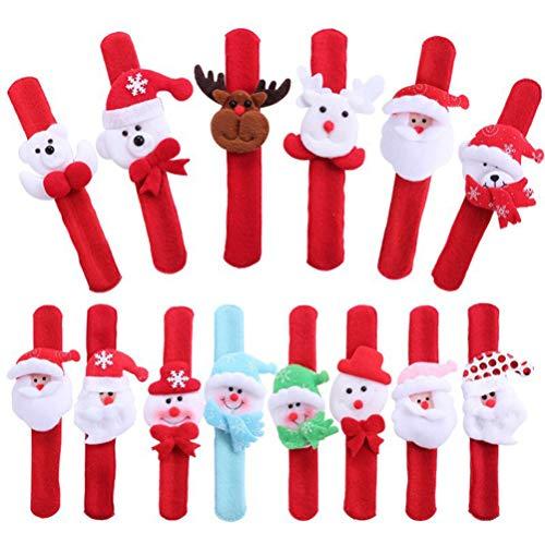 STOBOK 14 Pieza Pulsera Abofeteada de Navidad para Niños Accesorio para Nochebuena Año Nuevo Fiesta Estilo Aleatorio