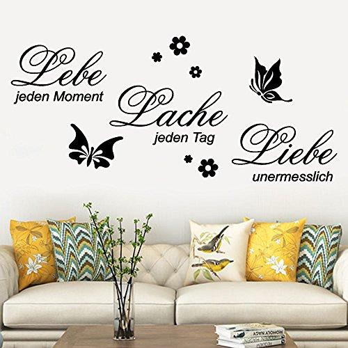 FENSIN Wandtattoo Lebe Lache Liebe Familie Abnehmbare Art Vinyl Wandhaupt Room Decor Wandaufkleber I 90cm x 40cm I Flur Wohnzimmer Aufkleber Selbstklebend Wandaufkleber