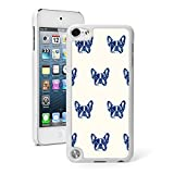 for Apple iPod Touch 5th / 6th Generation Hard Back Case Cover Blue French Bulldog Faces Pattern (White)