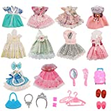 10 Pieces Set Mini Doll Clothes for 6 inch Dolls Party Grown Outfits,Doll Accessories Shoes Bag Necklace Kids Girl Gifts