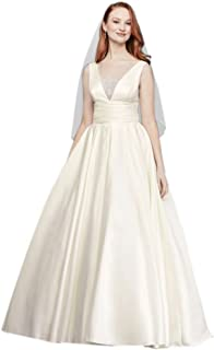 Cap Sleeve Lace Over Satin Gown with Illusion Back Style AI10020474 Sample