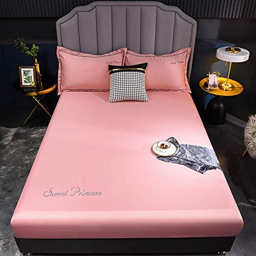 FJMLAY Sábanas de Cama Transpirable,Sábana Bajera de Seda de Lujo, Protector de colchón Antideslizante para apartamento de Dormitorio-Pink_2_180cmx200cm