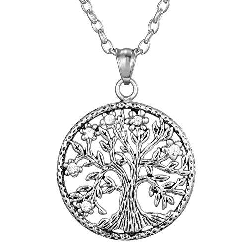 Morella Damen Halskette 70 cm mit Anhänger Lebensbaum Vitalität im Schmuckbeutel
