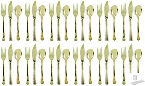 Metallic Gold Plastic Cutlery Set for 12 Guests 36 pcs plus 12 cutlery rings product image