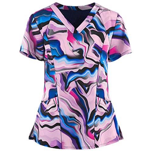 Scrub_Tops for Womens Cartoon Print Short Sleeve V-Neck Workwear Nursing_Tops Working Uniform Tunic T Shirt Pink