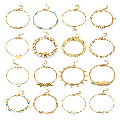 Fusskettchen für Damen,16 Stück Boho Fußband Fußkettchen Fusskette Fußkette Armband für Frauen und Mädchen Gold