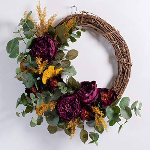 Darby Creek Trading Fall Wreath - Wine Rose, Natural Dried Mushroom & Eucalyptus