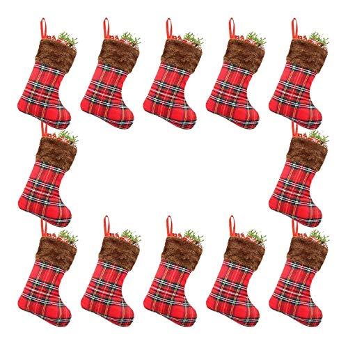 Shumo dventskalender Paket,12 Pro Packung,Mappen Kleiner Rustikal Plaid Webpelz Christbaumschmuck,Geschenkkarteninhaber Snacks Urlaub,Familie Kollegen,Nachbarn, Kinder,Hunde,Katzen