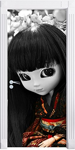 Stil.Zeit Möbel Belle Geisha Pullip Murale Noir/Blanc, Format: 200x90cm, Cadre de Porte, Porte Autocollants, décoration de Porte, Porte Autocollants