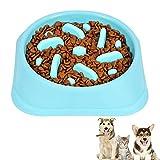 Cuencos para Perros Lentos, Lento Cuenco Perro Alimentación, Tazón Perros Alimentación Lenta, Comedero para Perros, para Evitar Que los Perros Coman una Alimentación Rápida y Saludable (Azul)