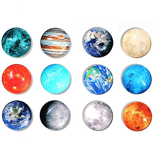 Superhappy 12 Fridge Magnets Kitchen Whiteboard Refrigerator Magnets Office Magnets 3D Funny Glass Magnets for Map, Home Decoration, Arts & Crafts,Locker Accessories (Planetary)
