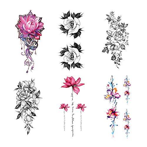 Gobesty TemporäRe Tattoos, 6 BläTter Wasserdicht Skizzieren Tätowierung 3D Blume Rose TemporäRe Tattoos für Männer Frauen Arme Schultern Brust Rücken Beine