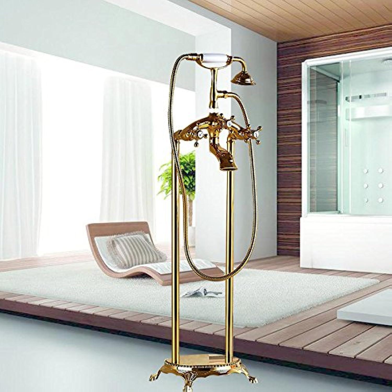 OUBONI Neu 3 Typ Zwei Griff Badezimmer Bodenstnder Montiert Badewannenarmatur Freistehende Badewanne Dusche Mischbatterie Set, Gold