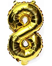 16 Inch(40cm) Gold Digit Helium Foil Birthday Party Balloons Number 8
