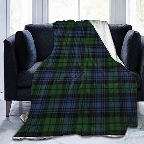 Allures Black Watch Ancient Original Scottish Tartan Throw Blanket Soft Flannel Fleece Blanket for Couch,Bed,Sofa,Chair Office,Travel,Camping,Modern Decorative Warm Blanket80*60