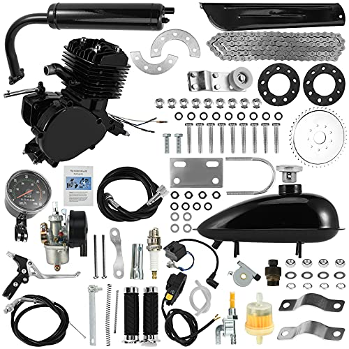 "Bicycle Motor KIT, 80CC 26"" 28"" Bicycle Engine Kit, Bike Bicycle Motorized 2 Stroke Petrol Gas Motorized Engine Motor Parts Super Fuel-EFFICIENT Bike Engine KIT with 2L Oil Tank (Black)"