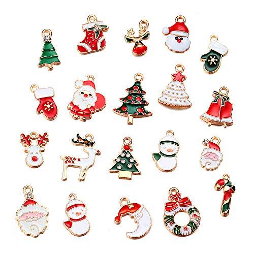 BIGPAWLUS Christmas Charms Set, 20Pcs Mixed Bracelet Pendant, Party Supplies, Hair Accessory Fashion Jewelry, Xmas Tree Hanging, DIY Craft