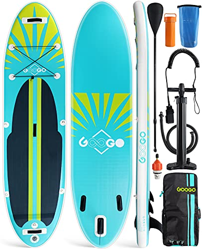 GOOGO Inflatable Paddle Board, 10'6'x32'x6' All-Around Inflatable Stand Up Paddle Board,Anti Air Leaking...