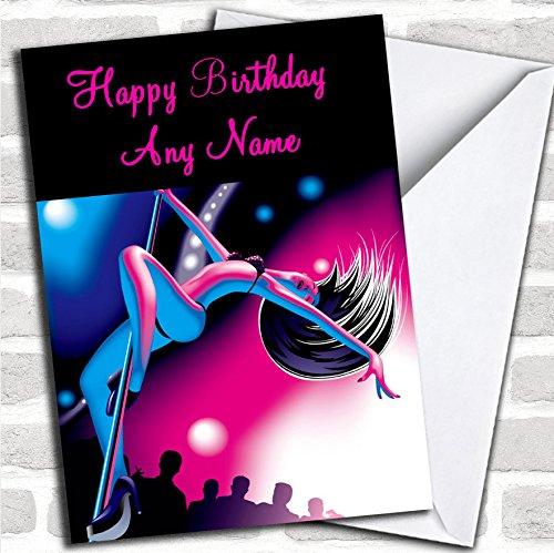 Roze en blauwe pool dansen verjaardagskaart met envelop, kan volledig worden gepersonaliseerd, verzonden snel en gratis