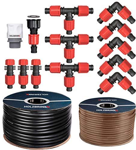 HOLZBRINK Bewässerungssystem Tropfbewässerung für Thuja Hecken, 50 m Tropfschlauch Profi 16 mm, 10 m Verlegerohr 16 mm, HTB-12-50P-10