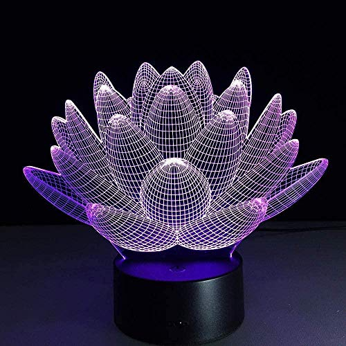 FUTYE 3D ilusión lámpara LED noche luz Lotus remoto Touch interruptor flores 7 color cambiante USB lámpara de escritorio visual niños s cumpleaños