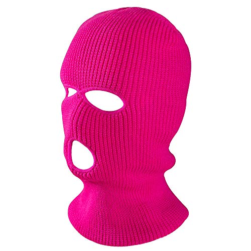 Pasamontañas negro máscara de 3 agujeros,Máscara de terciopelo para el invierno, cazadora deportiva con capucha de tres agujeros, rosa claro rojo,Gorro calentador de pasamontañas con 3 agujeros