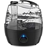 Homasy 2200ml Humidifier, Ultrasonic Cool Mist Humidifier with Independent Power Adapter, Quiet & Auto Shut Off Air Humidifier for Bedroom, Visualize Large Water Tank & Rotary Switch-Grey