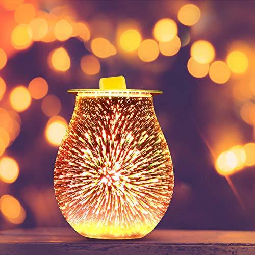 Blingbin Feuerwerk Aroma Lampe, 3D Elektrische Glas Duftlampe, Diffusor Wachs Schmelze Wärmer Glas Kerzenlampe für Home Office Schlafzimmer 18.2 * 14.6 * 20.6 Cm