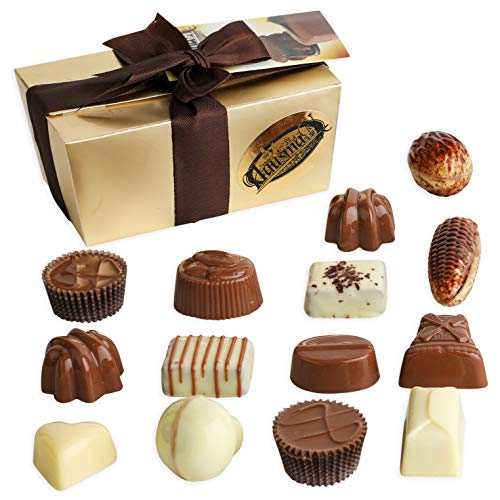 Hausman Real Premium Belgian Chocolates Pralines Exclusive Collection. Gourmet Milk Chocolate Assortment Gift Ballotin Box. 8 ounces, 14 count