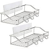 Shower Shelf with 6 Hooks, YULEER 304 Stainless Steel Adhesive Shower Caddy, 2 Pack Wall Mounted...