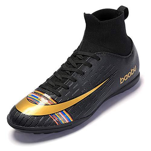 High Top Nieten-Turnschuhe, professionelle Turnschuhe, Wettkampfschuhe, Herren-Fußballschuhe, Jungen, Fußball-, Leichtathletik-Schuhe, - Schwarz Tf - Größe: 39 EU