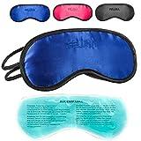 Máscara para dormir con almohada para enfriar los ojos Gafas para dormir con banda de goma ajustable y sensación de seda La almohada para enfriar ayuda con las migrañas (Azul)