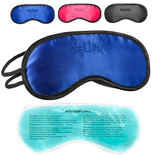 Feluna Premium slaapmasker met koelkussen, ook als oogmasker te gebruiken; slaapbril met verstelbare elastische band en zijde-Touch.