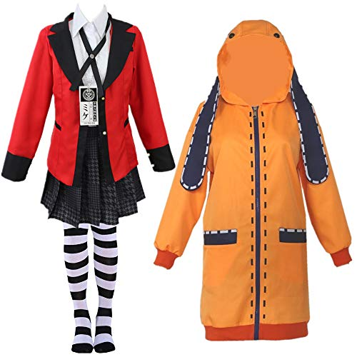 Anime Kakegurui Twin Yomoduki Runa Uniform cosplay costumes Jabami Yumeko women Stage party girl pleated skirt cosplay (M, Full set)