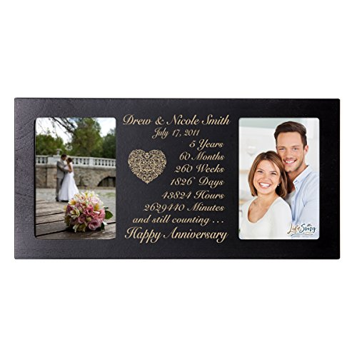 LifeSong Milestones Personalized Five Year her him Couple Custom Engraved Wedding Celebration for Husband Wife Girlfriend Boyfriend Photo Frame Holds Two 4x6 Photos (Black)