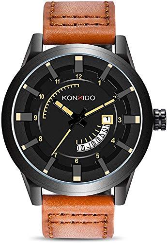 KONXIDO Herrenuhren, Mode Militärische wasserdichte Outdoor Sport Uhren für Männer, Großgesicht Analog Digitaluhr Dual Zeit Herren Quarz Analog Uhren (6335-Braun)