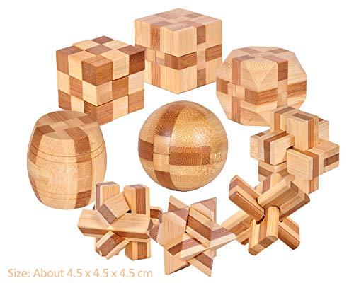 Joyeee 9 Stück Cube 3D Holz Puzzle Spiel #4- Challenge Ihre logischen Denken-Erwachsene Kinder Geduld Spiele Puzzle Dekoration