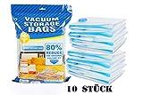 C-star Lot de 10 sacs Rangement sous Vide,40x60 cm Sac de Compression Voyages Réutilisables pour...
