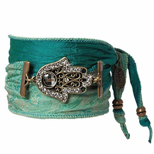 Anisch de la Cara Mujeres Pulsera Arcadia Green - Pulsera talismán de la Mano de Fátima Hecha de Saris Indios Hand of Fatima - Arte no 2290-e