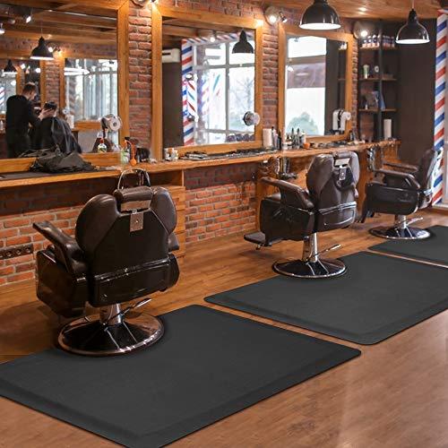 """Salon mats for Hair Stylist 3'x4' Barber Shop Salon Floor Chair Mat - Black Square Anti-Fatigue Floor Mat -1/2"""" Thick Office Comfort Floor Mat"""