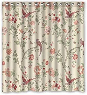 SOPIPOZ Shower Curtains with Summer Palace Cranberry Design 100% Waterproof & Eco-Friendly Large Size(66