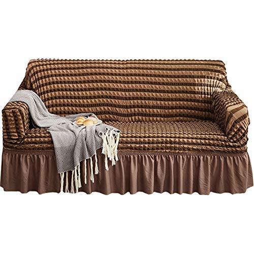 Streifen Sofabezug, Bubble Surface Universal Schonbezug, Easy Stretch Fit Elastic Fabric Couch Protector Schonbezug Waschbar mit Rock Extra Large,Braun,4seater