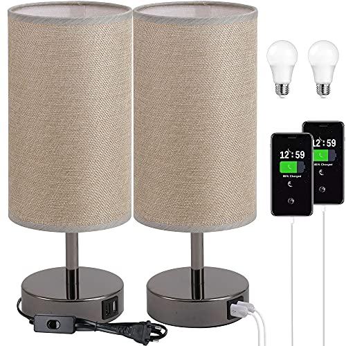 2 pezzi Lampada da comodino con porta USB - Lampada da tavolo touch control per camera da letto Lampada da comodino con paralume rotondo in tessuto di lino per soggiorno, camera dei ufficio