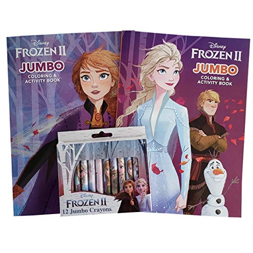 LadyRuss INC Frozen II Coloring Activity Book Super Fun Set: Bundle Includes 2 Coloring Activity Books with 12 Frozen Jumbo Crayons