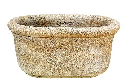 Maceta Jardinera Tiesto Oval rústica Exterior de hormigón-Piedra 50X33X24cm.