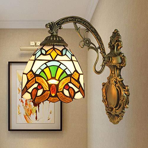 Wandlamp voor buiten, wandlamp voor kinderen, bedlampje voor restaurant, klassiek, barok, van getint glas