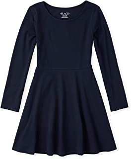 The Children's Place girls Solid Long Sleeve Pleated Knit Dress Dress