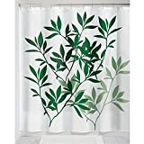 iDesign Leaves Duschvorhang   Designer Duschvorhang in der Größe 183,0 cm x 183,0 cm   schickes Duschvorhang Motiv mit Blättern   Polyester grün